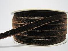 5 yards 3/8 Dark Brown Velvet Ribbon Brown Ribbon by ichimylove