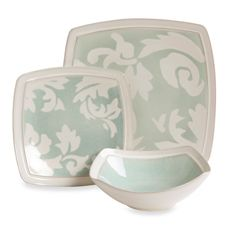 Gibson Elite Couture Barrington Square Sage Dinnerware @ Bed Bath and Beyond