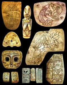 """the-pie-rat:INCREDIBLY MYSTERIOUS ARTIFACTS REVEALED – MAYAN? UFOS ...Look at the one 'Carrying a Pyramid """""""