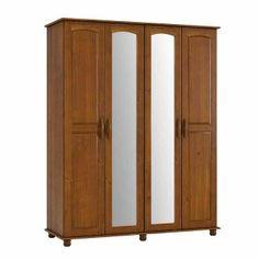 Guarda Roupas 4 Portas Fabricado em Madeira Maciça Pinus Com Espelho Cor Imbuia - Linha Onic - Dactylo Móveis de Madeira Maciça