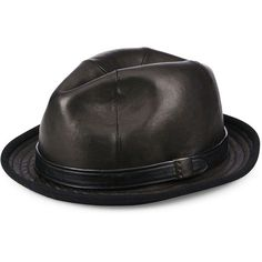 54049d9f11d0f John Varvatos Star USA Band Accented Leather Fedora ( 185) ❤ liked on  Polyvore featuring. Mens Leather HatsMens Leather AccessoriesMen s ...