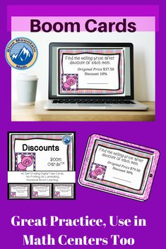 Boom Cards™️ are a great way for students to practice using percents to find the selling price of discounted items and assessing their understanding. This set of Boom Cards features 40 different Digital Self-Checking Task Cards. (No printing, cutting, laminating, or grading!)