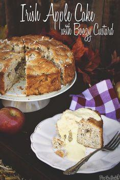 Switch up the Thanksgiving dessert table!  Irish Apple Cake with Boozy Custard || Pass the Sushi