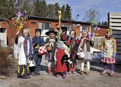 Easter witches in Espoo, Finland.