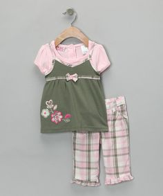 Take a look at this Pink Plaid Flower Top & Pants - Toddler & Girls by Young Hearts on #zulily today!