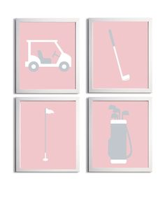 Items similar to Golf Sports Nursery Baby Girl Boy Pink Gray Prep more colors available set of 4 on Etsy Golf Art, Jack And Jack, New Room, Pink Grey, Nursery, Baby Ideas, Canvases, Breast Cancer, Boys