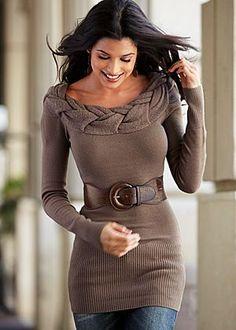 Belted sweater w/ detailed neckline