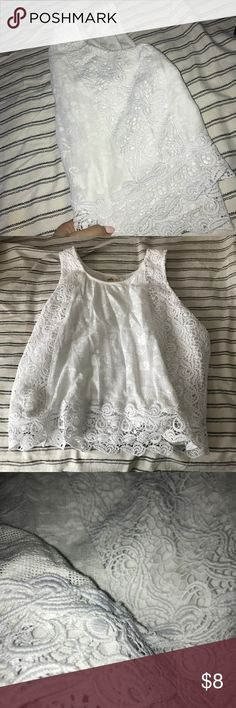 Hollister top White lace/crotchet Hollister tank   In new condition Hollister Tops
