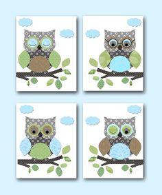 "Owl Decor Owls Nursery Baby Boy Nursery Art Nursery wall art baby nursery kids room decor Kids Art Boy Print set of 4 11""x14 owls blue green"