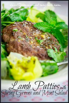 Lamb Patties with Lemony Spring Greens