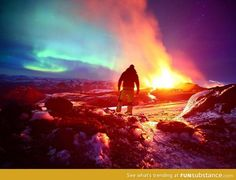 A slightly more epic active volcano, smoke, and aurora lights