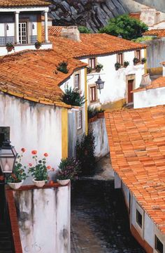 Roofs Of Sintra (Portugal), by J. Urban Painting, Sintra Portugal, Watercolor Art, Pergola, Illustration Art, Outdoor Structures, Windows, Doors, Canvases