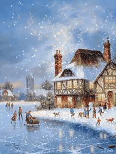 Анимация - зимнее настроение / зима, новый год, пейзажи, картинки, анимация