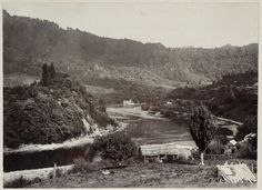 The Whanganui River and surrounding countryside at Pipiriki photographed by Thomas Pringle in about Inscriptions: Album page - beneath image. Nz History, Countryside, New Zealand, Photographs, Heaven, River, Image, Maori, Sky