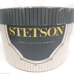 designer hat box | ... about Vintage Mens Stetson Hat Box Atomic Design on Top Oval 1950s