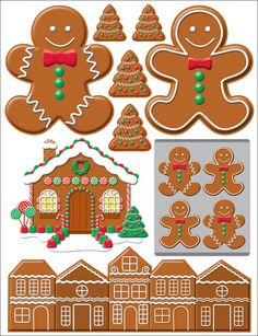 Gingerbread Lane Gingerbread Christmas Scrapbook Stickers by Reminisce 3d Christmas, Christmas Frames, Christmas Gingerbread, Christmas Pictures, Christmas Cards, Christmas Clipart, Cupcake Pictures, Die Cut, Printable Stickers
