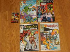 Vintage Lot of 4 Thundercats Comic Books # 10, 11, 13, 14 + Trading Card PackIn pretty good shape, not mint. Will ship 2 per bag and board. #card #pack #trading #books #thundercats #comic #vintage