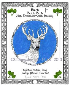 White Stag Birch Celtic Tree Calendar Lunar by MagickMermaid, $20.00