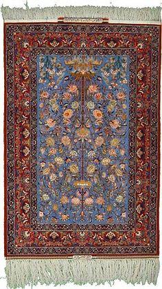 Silk & Kork 3 5 x 5 2 Blue Syerafiyan Isfahan Persian Rugs @ESALERUGS.COM