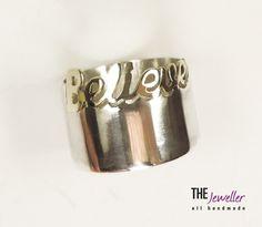 Inel BELIEVE din argint 925 şi aur de 14k #http://www.pinterest.com/giuliajewellery/