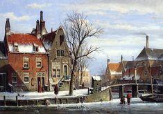 City Landscape, Winter Landscape, Urban Landscape, Landscape Paintings, Amsterdam, Painting Snow, Medieval Life, Dutch Painters, Dutch Artists
