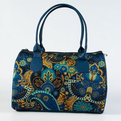 Blue and Yellow Fabric Handbag for Ladies Floral by MyBrightBag