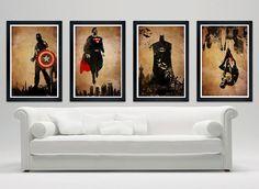 "Superhero minimalistic poster set, Batman, Superman, Spiderman, Captain America, minimalistic poster series, 12""x18"""