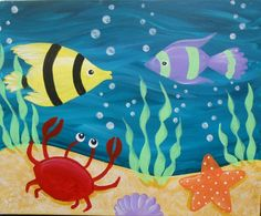 Under the Sea, Underwater Painting on Canvas via Etsy | Color me ...