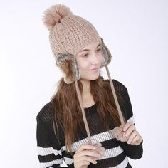 ead10a75f1c 2017 Women s Winter Knitted Hat Beanie for Girl Top Ball Hanging Ball  Earflap Hats Casual Fashion