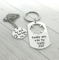 Personalized Hand Stamped firefighter key chain necklace combo, firefighter necklace, firefighter keychain