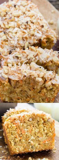 This Easy Carrot Coconut Glazed Bread from Cooking on the Front Burner is super quick and easy! It's loaded with carrots, coconut, and walnuts and topped with a creamy glaze and toasted coconut!