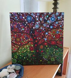 Original painting, dotted tree, dot art, autumn tree A gorgeous 12 x 12 in painting of an autumn tree, done in 1000s of dots. I completed this painting in about 12 hours over several weeks. It was a lesson in patience. Let it decorate your walls that you may enjoy the warm colors of
