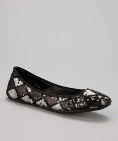 Look what I found on #zulily! Black Harlequin Sequin Flat by Capelli New York #zulilyfinds