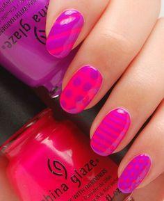 Nice combination nail art design polish