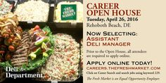 The Fresh Market has Assistant Deli Manager Jobs in Rehoboth Beach, DE.  Career Open House Tuesday, April 26th 8am-7pm  http://grocerystorejobmarket.com/tfm
