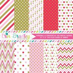Red Pink Gold Valentines Day Digital Paper Pack – Erin Bradley/Ink Obsession…