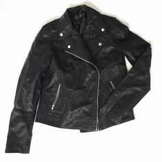 MOTO Biker Faux Leather Black Jacket Great condition! Cute quilted and button and zipper details. Very flattering a slimming. Forever 21 Jackets & Coats