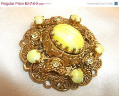 SALE Vintage Germany Yellow Art Glass Cabachon by MemawsTopDrawer