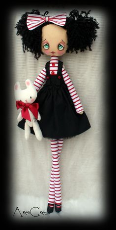 Burlesque cloth doll Philomena, cute mime rag doll with bunny and stripes. Cute rag doll in red, white and black. Fantasy cloth doll - pinned by pin4etsy.com