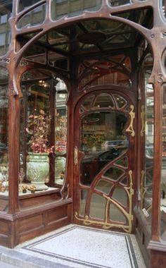 Art Nouveau •~• storefront, La Maison A. Niguet, Paul Hankar. 13 rue Royale, Brussels, Belgium, 1899
