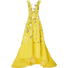 Monique Lhuillier Silk V-Neck Asymmetric Gown (2.895.345 HUF) ❤ liked on Polyvore featuring dresses, gowns, yellow, silk gown, high low evening dresses, yellow evening gown, floral evening gown and high low evening gowns