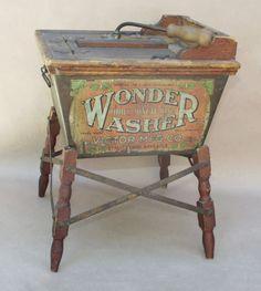 Salesman Sample The Three Minute Kind / Wonder Washer Washing Machine Antique Toys, Antique Furniture, Vintage Toys, Vintage Antiques, Vintage Laundry, Vintage Kitchen, Antique Washing Machine, Wash Tubs, Old Toys