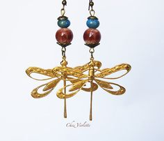 Golden dragonfly earring brown blue ceramic beads by chezviolette