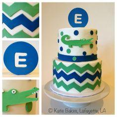 Blue & Green Alligator Birthday Cake