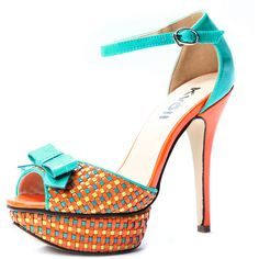 Orange Patent Leather Multicolor Plaid 130mm Sandals ($46) ❤ liked on Polyvore