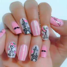 Black and pink manicure is a bright and unusual solution for nail design. Gel Designs, Simple Nail Designs, Cute Nail Art, Beautiful Nail Art, Eiffel Tower Nails, Holloween Nails, Paris Nails, Gel Nagel Design, Nails For Kids