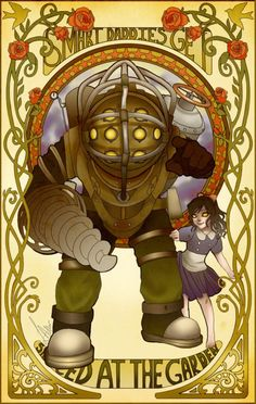 The Glasgow four and the art nouveau. This card shows the bioshock big daddy and the little sister on a card with the art nouveau art style around the exterior of the card. Bioshock Game, Bioshock Series, Bioshock Artwork, Art Nouveau, Art Deco, Steampunk, Fallout New Vegas, Fallout 3, Culture Art