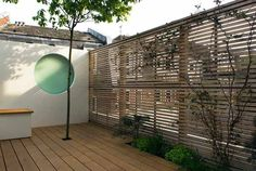wooden deck and small garden