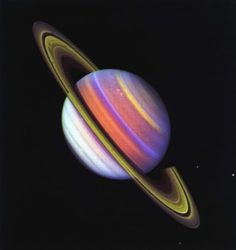 Saturn - Three Voyager 2 images, taken through ultraviolet and green filters