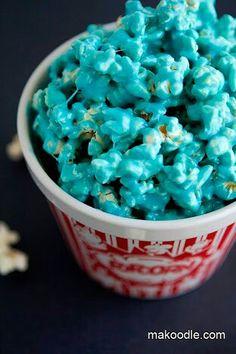 Pipoca com caramelo azul